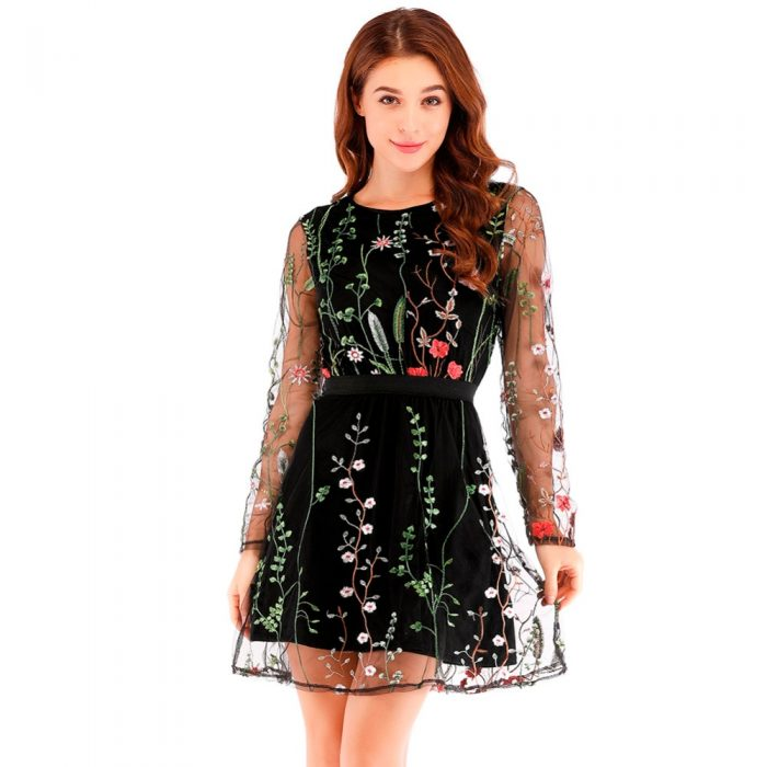 Floral Embroidery See-through Dress