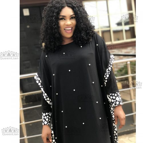 Ladies Bazin Long Sleeve Dashiki Dress