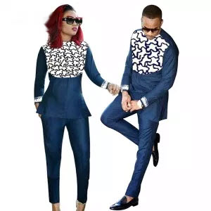 African Bazin Embroidery Couple Wear