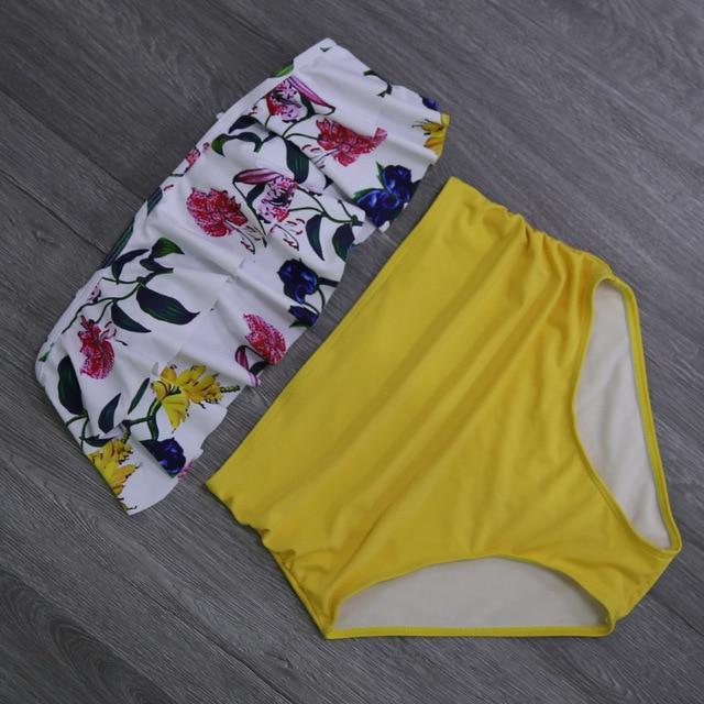 Vintage Floral High Waisted Bikini
