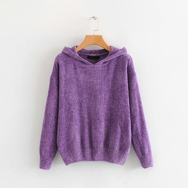 Elegant Hooded and Knitted Chenille Sweater