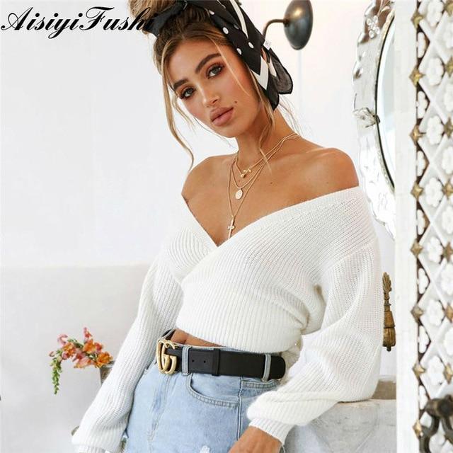 White Off Shoulder Chenille Sweater