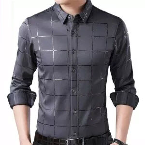 Luxury Slim Fit Long Sleeve Plaid Shirt