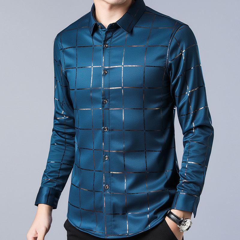Luxury Slim Fit Long Sleeve Plaid Shirt