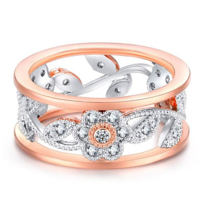 Crystal Rose Gold Engagement Ring