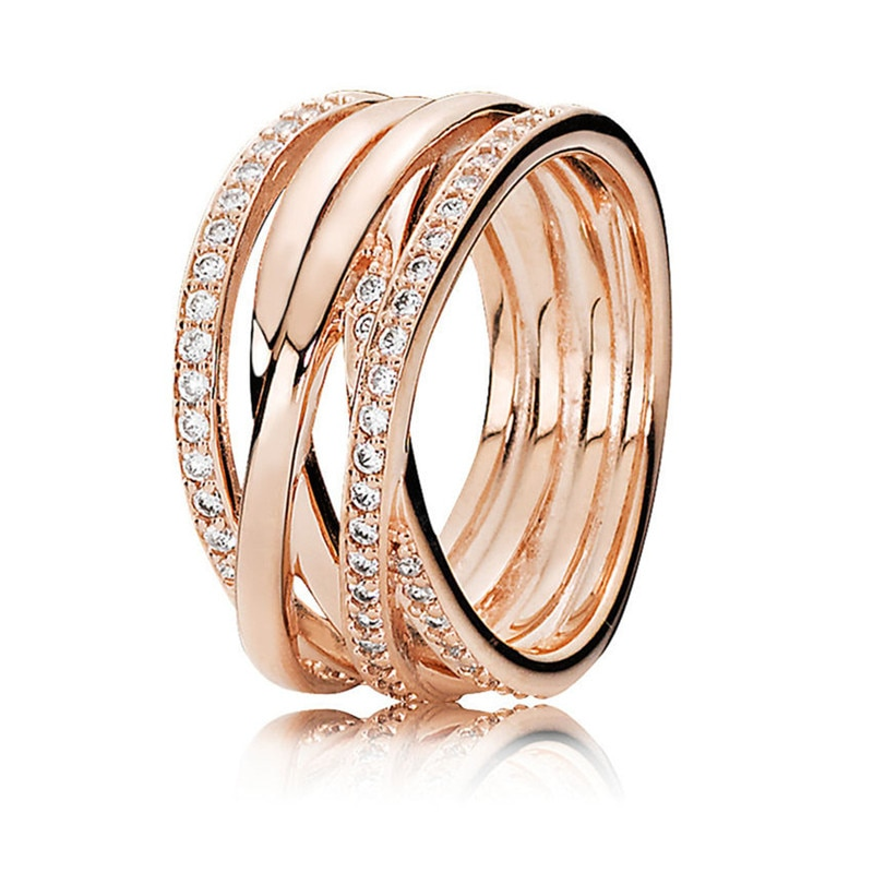 Entwined Rose Gold Engagement Rings