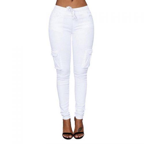 High waist solid pencil waist pants