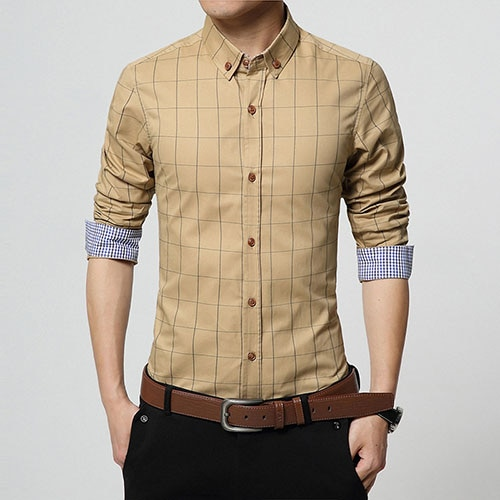 Slim Fit Men Long Sleeve Plaid Shirt