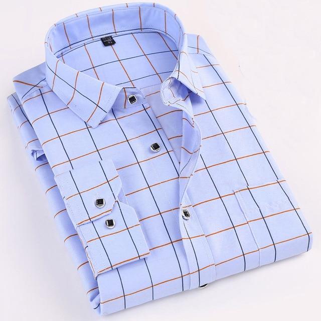 Printed Long Sleeved Plaid Shirts