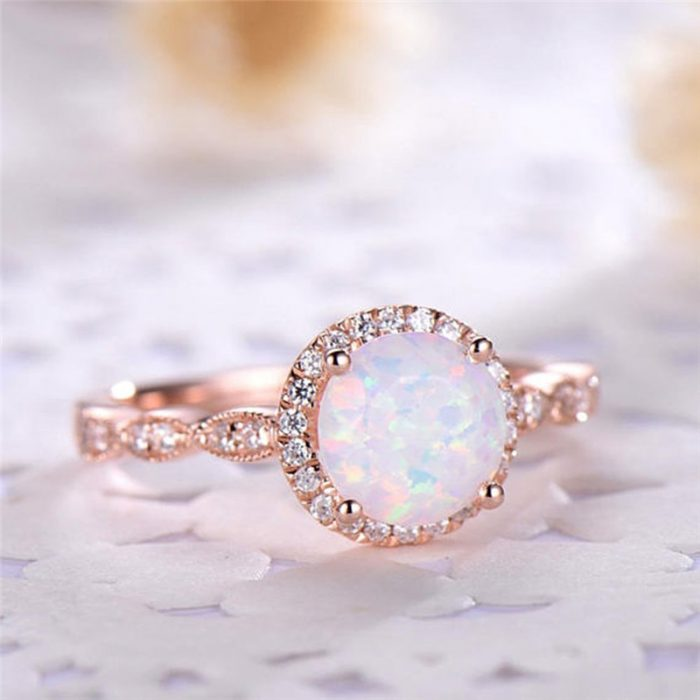 Round Rose Gold Opal Rings