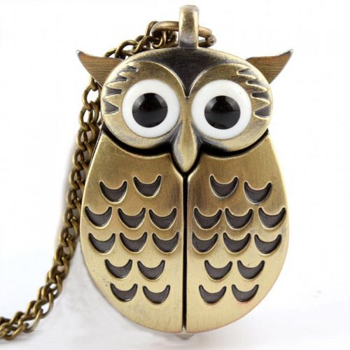 Cute Owl Vintage Bronze Pocket Watch