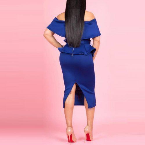 Slash Neck Off Shoulder Peplum Dress