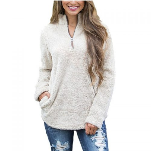 Turtleneck Fluffy Sherpa Pullover
