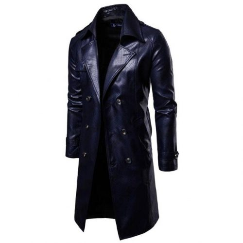 Shiny Leather Trench Coat Men