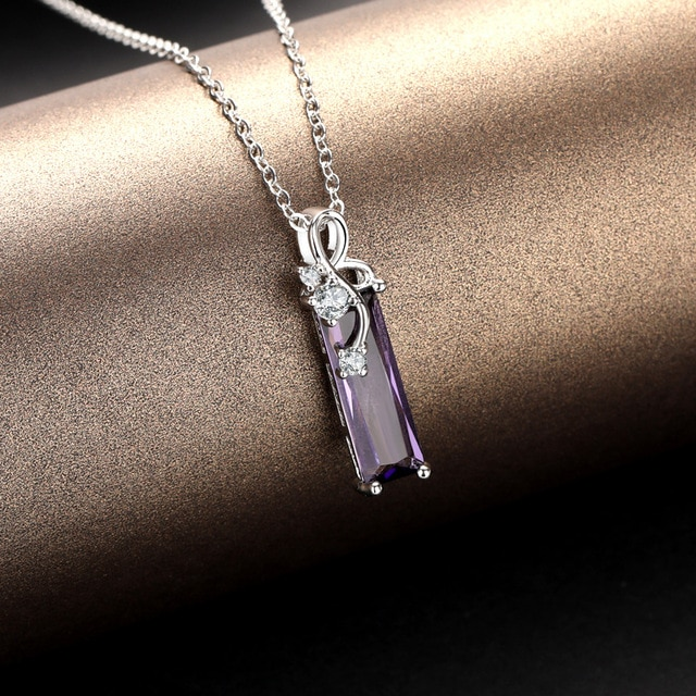 Beautiful Rectangular Amethyst Necklace