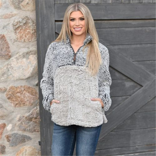 Female Casual Sherpa Pullover