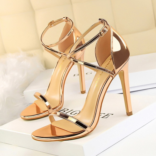 Sexy Gold Leather stiletto Heels