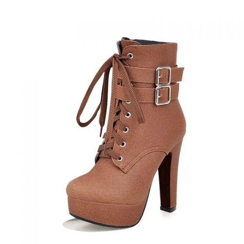 High Heel Lace-Up Dress Boots