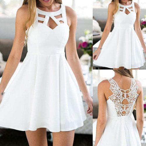 Sleeveless Back Lace Babydoll Dress