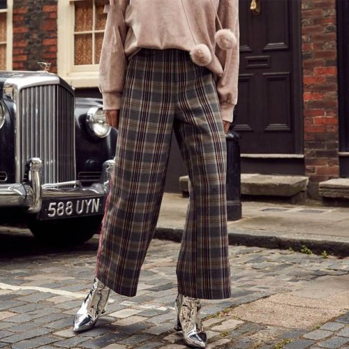 Wide Leg Plaid Pedal Pushers