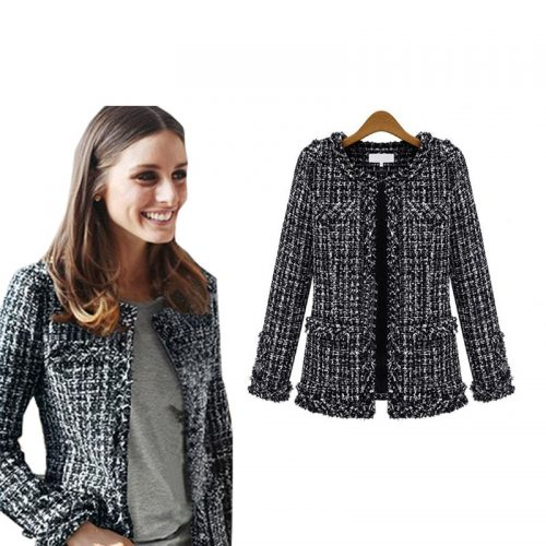 Women Checkered Tweed Jacket