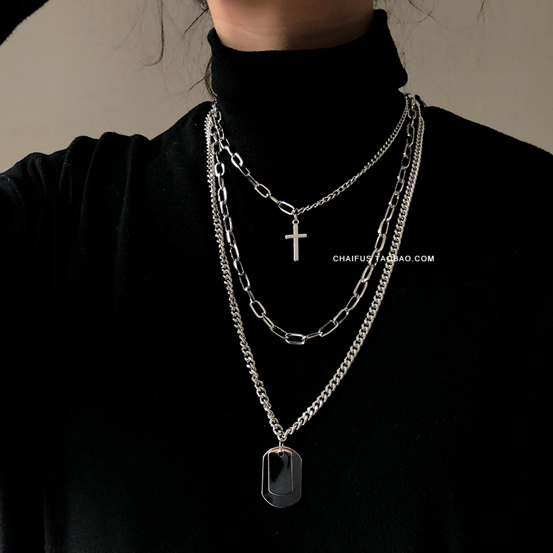 Cross Square Metal Mood Necklace