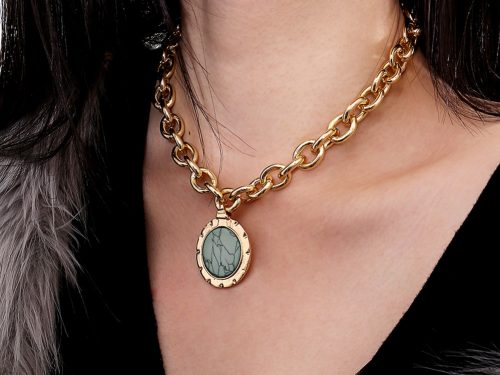 Vintage Green Stone Mood Necklace
