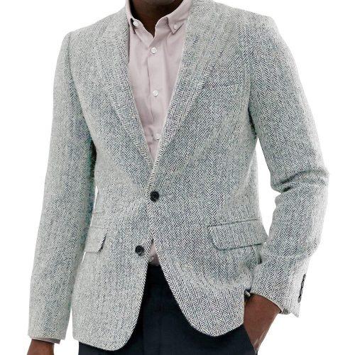 Men Slim Fit Tweed Jacket