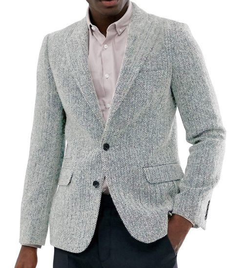 Men Slim Fit Tweed Jacket