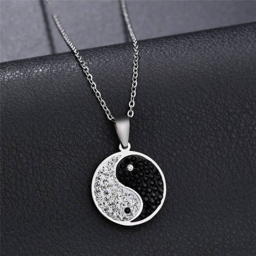 Trendy Studded Yin Yang Necklace