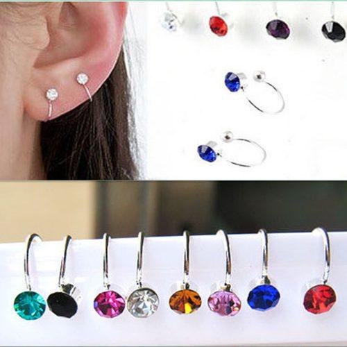 Rhinestone Crystal Clip On Earring