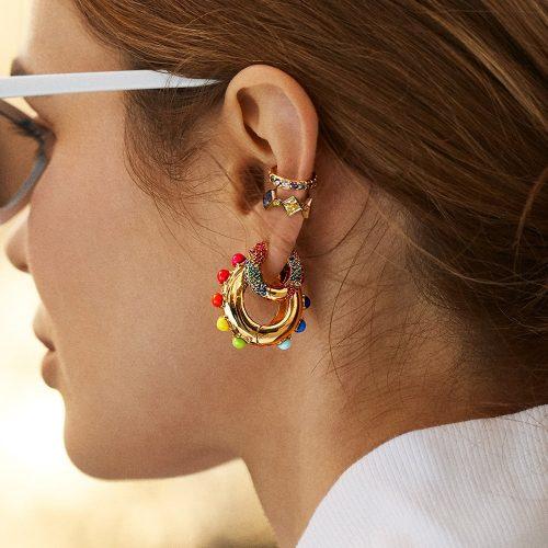 Women Rainbow Clip on Earrings